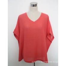 Mulheres moda algodão malha camiseta com decote em v (yky2030-4)