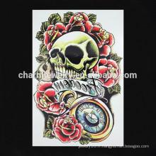 OEM gros tatouage à fleurs colorées tatouage tatouage panique crâne tatouage tatouage W-1089