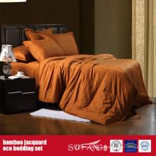 Linge de lit de jacquard de fibre de bambou a placé des feuilles d'hôtel de luxe