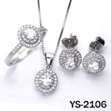 Conjunto de joyas 925 bisutería de plata CZ Engagement Jewellery.