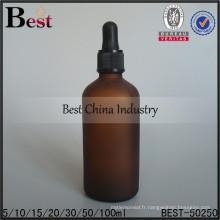 Bouteilles d'huile de compte-gouttes en plastique 30/50 / 100ml; bouteilles d'huile essentielle couleur ambrée; Bouteille en verre à huile rechargeable à Dubaï