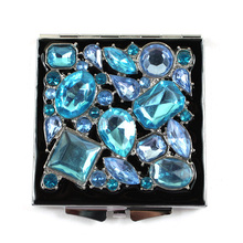 Bleu Jeweled miroirs Compact
