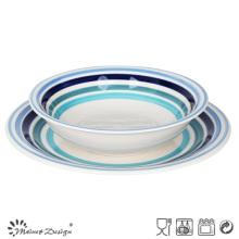 Plato especial juego de la sopa de bolas 12pcs mano pintura cena conjunto