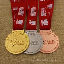 Medalha personalizada do metal do esporte do bronze da prata do ouro do costume