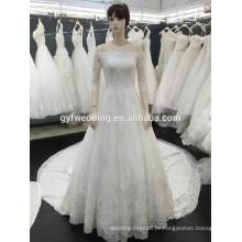 Vintage 2015 Lace Zuhair Murad Wedding Dress off vestido de bola de manga longa ahoulder Vestidos de noiva com Appliques de renda Tribunal Train 162