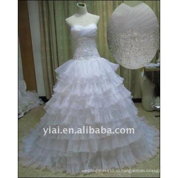 Бесплатные JJ2517 доставка органзы бисером кружева свадебное платье для новобрачных