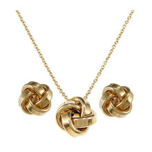 stainless steel set jewelry include necklace earring gold plating for women
