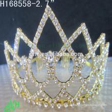.Neue Entwürfe preiswerte Rhinestone-Krone, Festzug tragen Goldtiaras u. Krone