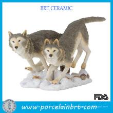 Figurine animale en résine de loup sauvage