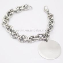 Baratos simples aço inoxidável em branco prateado charme cadeia pulseira