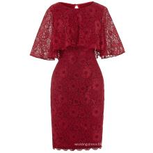 Kate Kasin 1/2 Sleeve Round Neck Knee Length Lace Dark Red Evening Dress Mother of the Bride Dress 8 Size US 2~16 KK000201-1