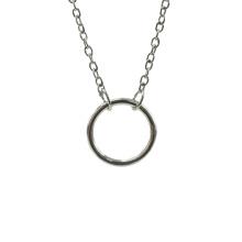 Collier à pendentif cercle brillant en argent sterling