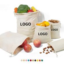 Wholesale Custom Small White Canvas Bags ECO Friendly Bulk Organic Cotton Cloth Drawstring Shoe Pouch Bag