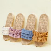 Zapatillas antideslizantes de punta abierta suaves informales planas para mujer