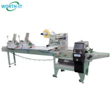 Horizontal packing wrapper Flow pack machine with 2 card feeders