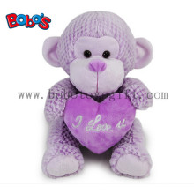 China Factory Made Super Cute Plush Purple Monkey Toy with Purple Heart Pillow