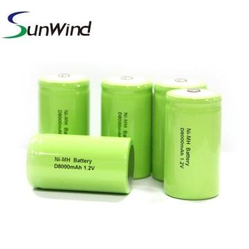 Batería Ni-Mh recargable tamaño D de 1.2v 8000mah