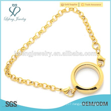 316l stainless steel Pearl Chain bracelet with floating locket, gold charm bracelet