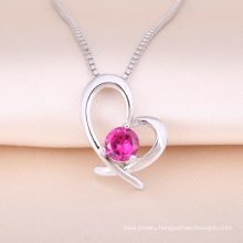 2018 trending product sterling silver cubic zirconia heart shape pendant necklaces