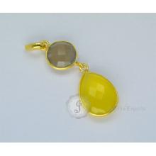 Позолоченные Стерлингового Серебра Ожерелье Серебряная Ожерелье Халцедон Кулон Ожерелье