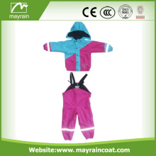 Hight Quality PU Print Impermeable Kids Pu Rainsuit