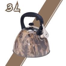 Чайник со свистком из нержавеющей стали с коричневым рисунком