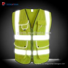 Chaleco reflexivo al por mayor amarillo de la alta visibilidad, bolsillos multi de la cremallera del trabajo pesado de la seguridad del día / de la noche de Hi Viz EN20471