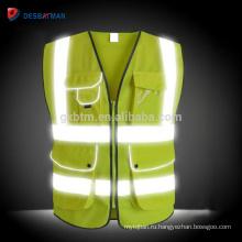 Оптовая желтый высокая видимость Светоотражающий жилет,Хай виз День/Ночь безопасности сверхмощный спецодежды молнии Мульти карманы EN20471