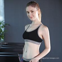 Hot sale pure color breathable cotton sport vest bra women lingerie