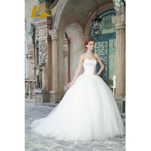 ED Bridal New Popular Ball Gown Sweetheart Strapless Sleeveless Lace-up Wedding Dresses With Lace Appliqued 2017