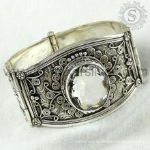 Hochwertiges Kristalledelstein-Silberarmband 925 Sterlingsilber-Schmucksachehandgemachter Schmucksachegroßhändler
