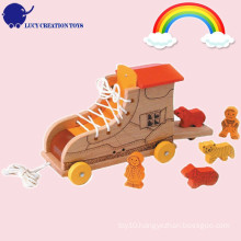 Lovely Playful Vintage Wooden Animal and Rolling Boot Pull Along Toy