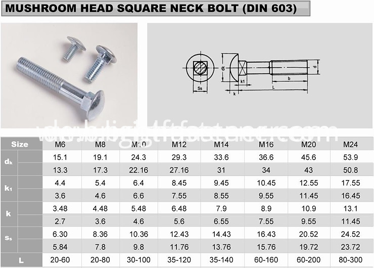 carriage bolt size