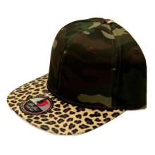 100% acrílico Leather Brim Snapback Cap com o seu logotipo