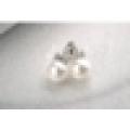Luxo dom item design mais recente de ouro branco pendurado pérola e zircônia cúbica brinco