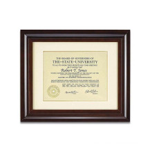 Custom 12x15  Wooden Walnut Archival Document Frame with Warm White Mat for 8.5x11 Document