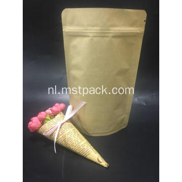 Kraft Paper Stand Up Pouch Met Rits