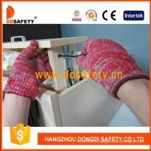 Ddsafety 7 Gauge with 2 Threads Red & Grey Mixed Cotton or Polyester Knitted Gloves Ce 10100