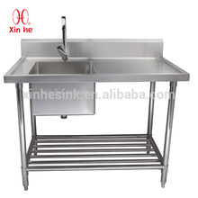 Commercial Free Standing Stainless Steel 1 One Compartment Sink with Drainboard