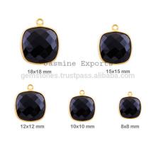 Wholesale Semiprecious Gemstone Bezel Charm, Handmade Cushion Shape Gemstione Charms In Bezel Jewelry