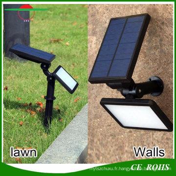 4 modes d'éclairage 48LED 960lm haute Brigntness multifonctionnel solaire lampe murale Solar Garden projecteur lumières Spike Lawn Light avec piquet de sol