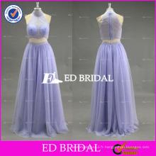 2017 ED Lavender Custom Made Halter sans manches à deux pièces en perles Robe de bal en tulle