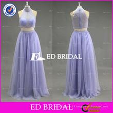 2017 ED Lavender Custom Made Halter Sleeveless Two-Piece Bead Work Tulle Prom Dress