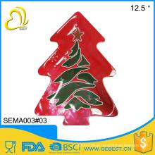 impressão de decalque completo prato de melamina de forma de árvore X-MAS
