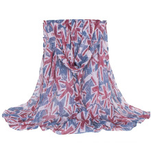 Women′s British Flag Printing Long Woven Shawl Scaf (SW137)