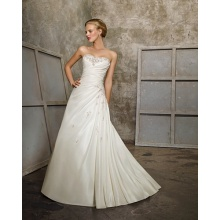 A-line Sweetheart Chapel Train Taffeta Beading Ruffled Wedding Dress