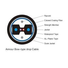 1 núcleo FTTH tipo arco de cable de fibra óptica de gota para la aplicación de conductos