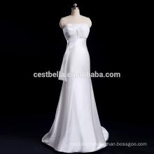 Vestido de novia de seda de raso de raso de satén de la envoltura