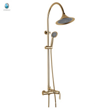 KT-05J antique style round shape wall mounted rainfall shower set, chrome plated brass rainfall shower set with slide bar
