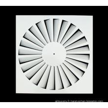 Diffuseur de plafond carré à lames fixes Diffuseur de tourbillon de feuille de fer